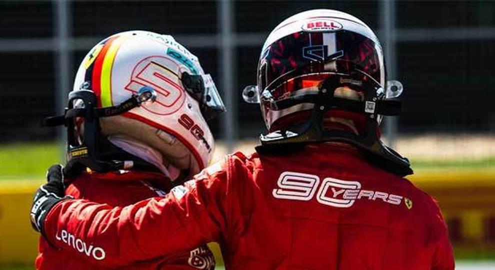 Vettel e Leclerc di spalle