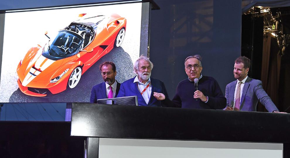 Il presidente della Ferrari Sergio Marchionne presenta l'asta della LaFerrari Aperta a Fiorano a scopo benefico