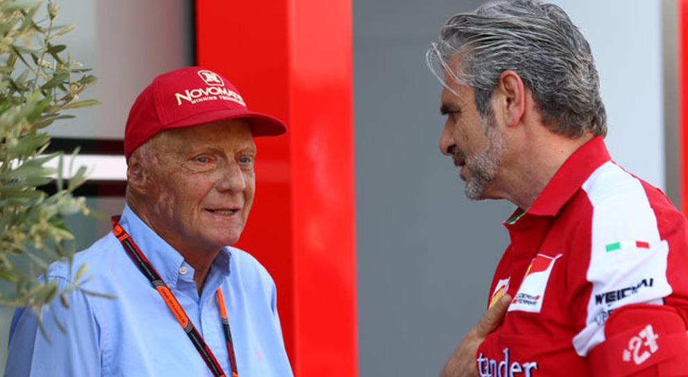 Niki Lauda e Maurizio Arrivabene