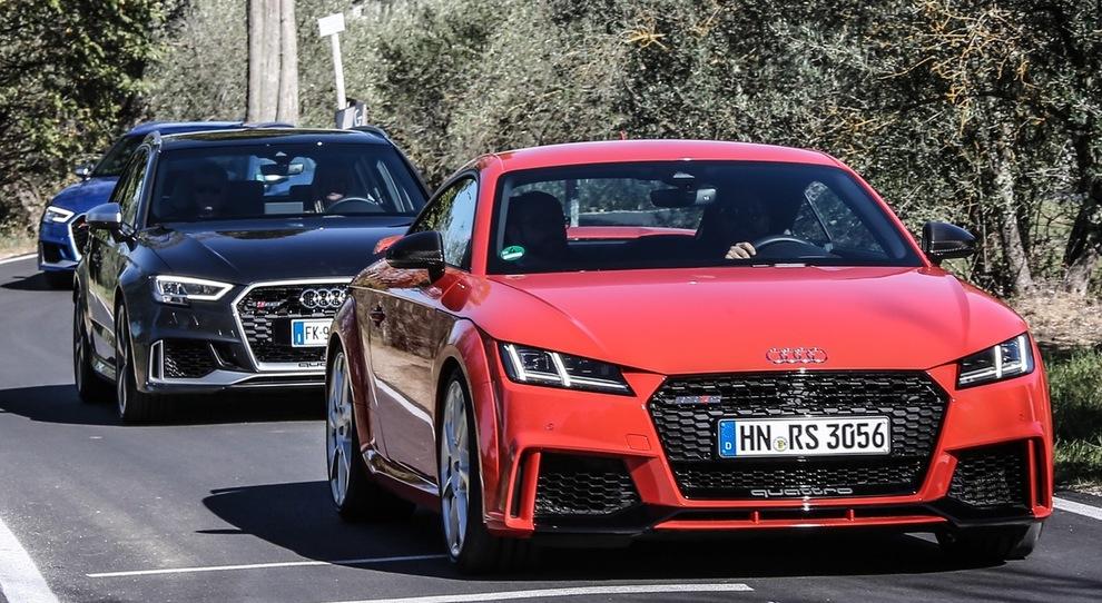 Le tre velocissime Audi; TT RS, RS3 ed RS5