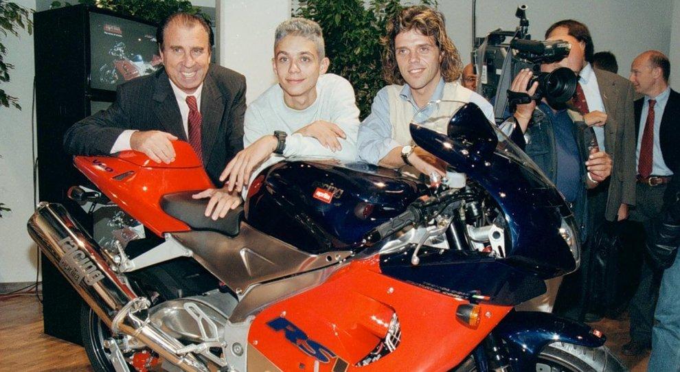 Ivano Beggio con i giovanissimi Valentino Rossi e Loris Capirossi