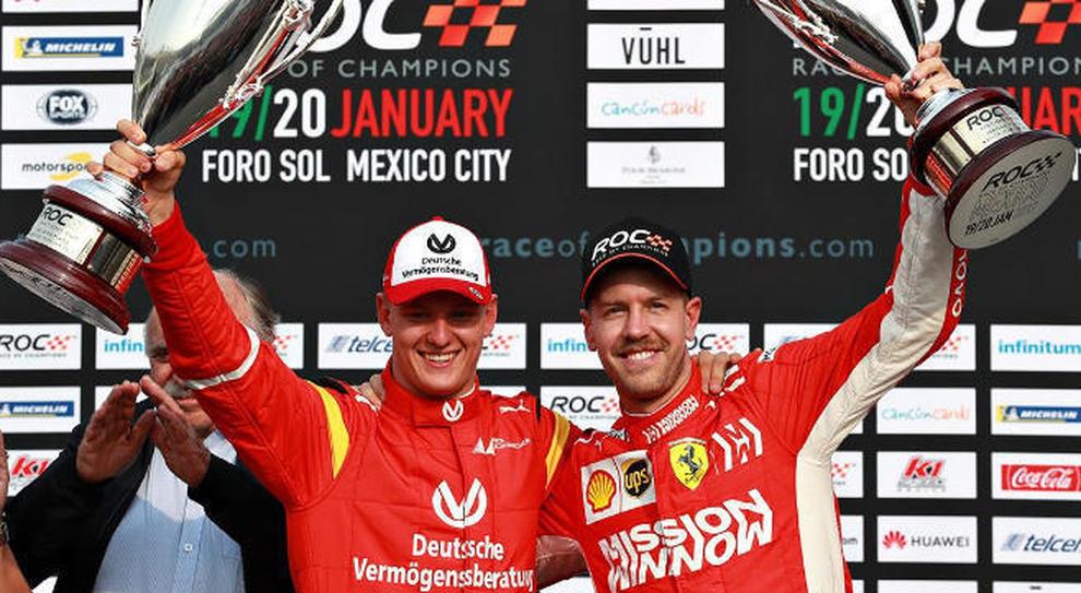 Sebastian Vettel e Mick Schumacher insieme sul podio della Race of Champions