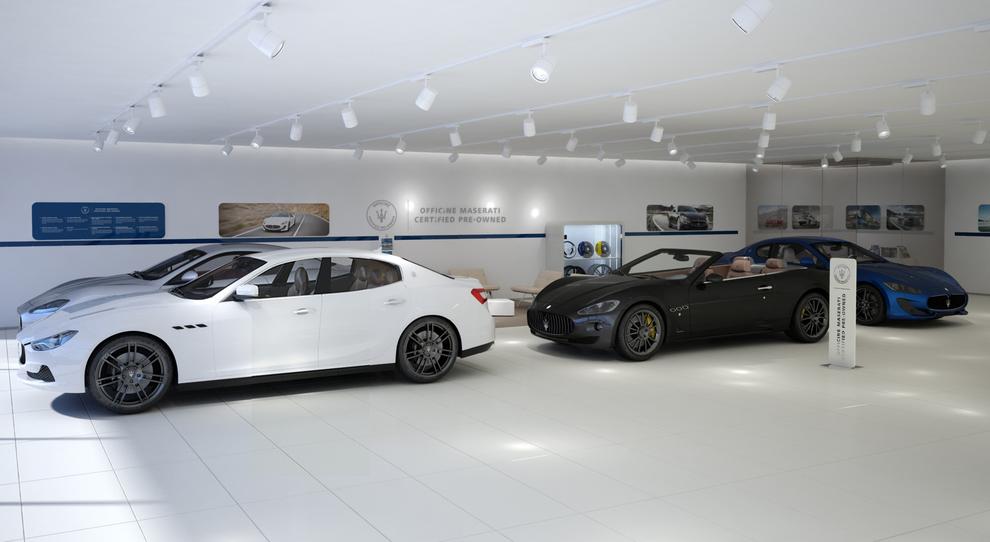 Un corner dedicato al nuovo programma Officine Maserati dedicato all'usato del Tridente