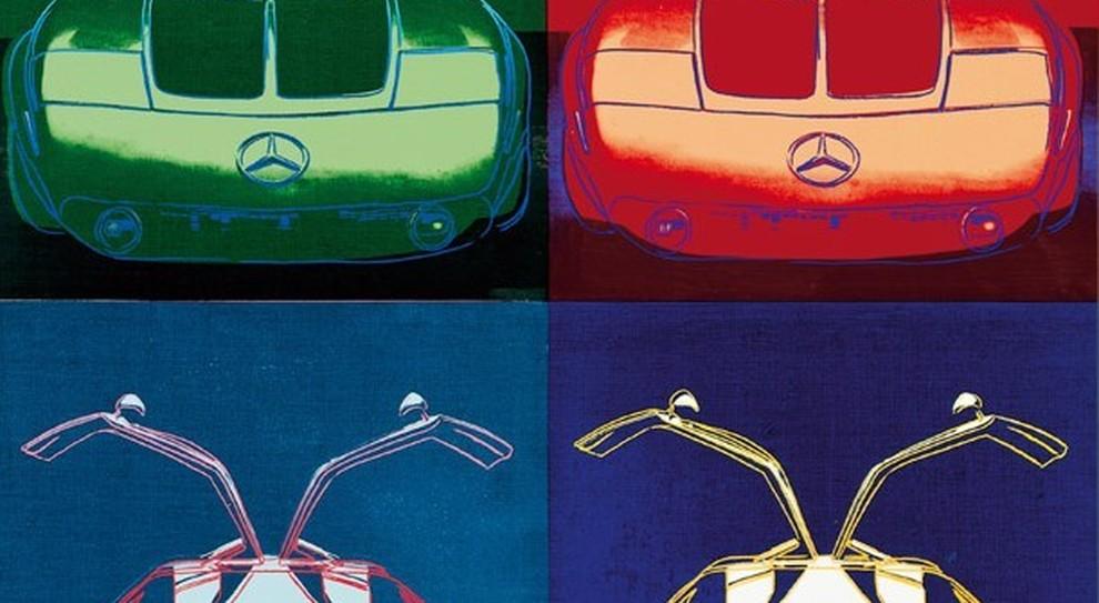 Il dipinto di Wharol che raffigura la Mercedes C 111