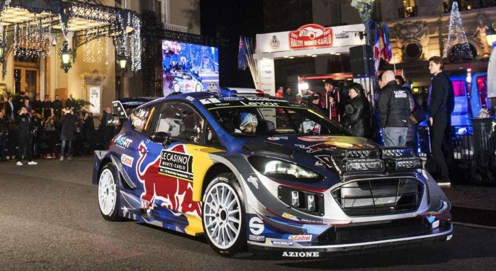La Ford Fiesta di Ogier alla partenza del rally di Montecarlo dello scorso anno