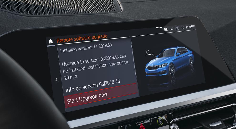 La schermata di aggiornamento di un modello BMW