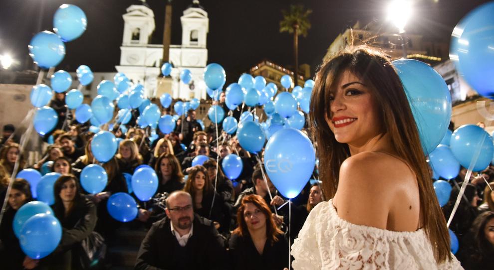 Un momento del flash mob in Piazza di Spagna