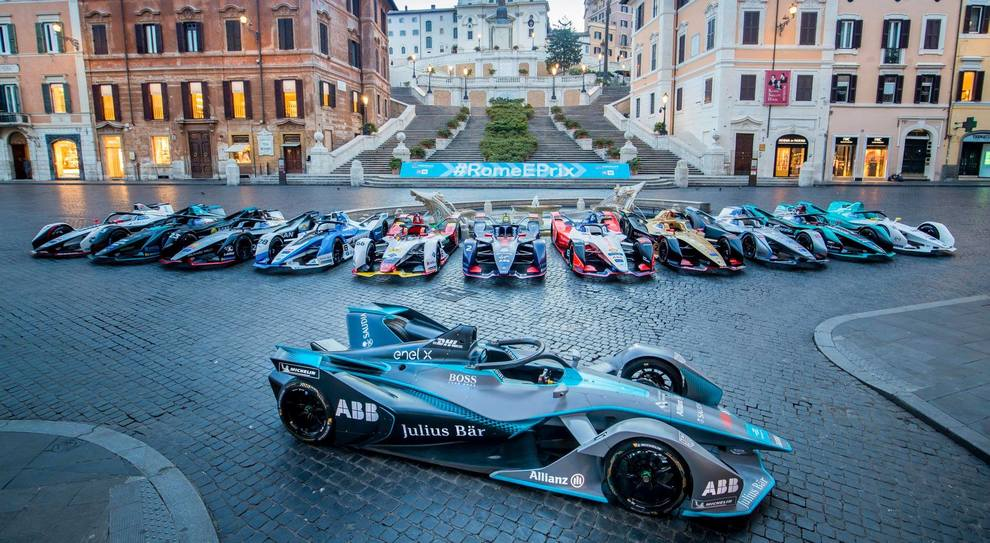 Le monoposto di Formula E a Piazza di spagna lo scorso anno