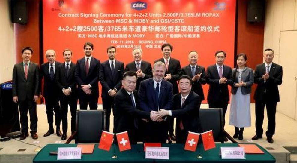 La cerimonia della firma dell'accordo tra GNV e GSI