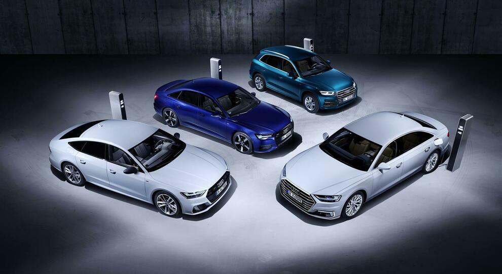 I quattro modelli Audi disponibili con versioni ibride plug-in denominate TFSI e