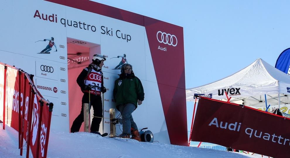 La partenza di una delle prove dell'Audi quattro Ski Cup 2018