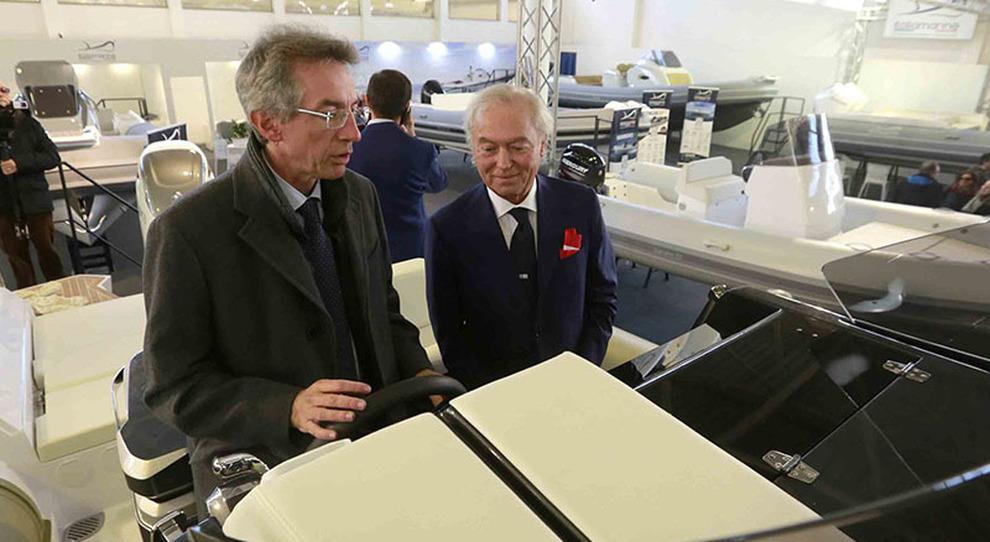 Il ministro Gaetano Manfredi in occasione del recente Nauticsud con il presidente di Afina Gennaro Amato