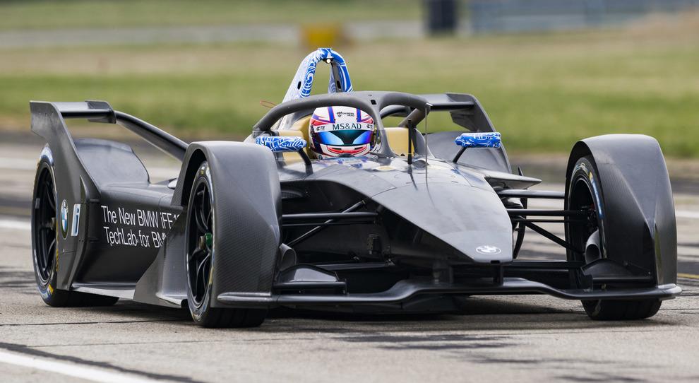 La BMW di Formula E durante un test