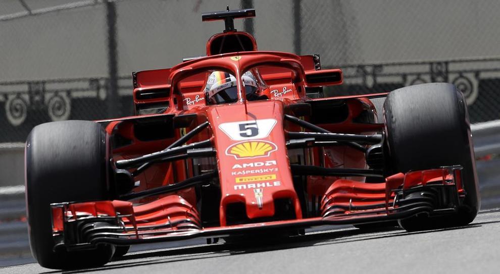 La Ferrari SF71H di Sebastian Vettel a Montecarlo