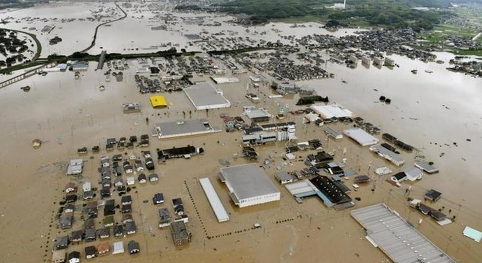 Una visione aerea dei danni in Giappone a causa delle alluvioni