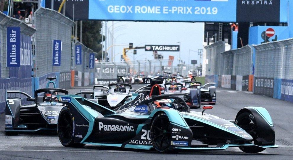 La Jaguar di Evans che ha vinto l'E-Prix di Roma