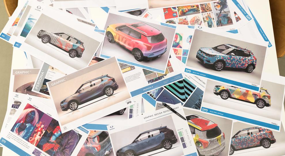 """Alcuni dei bozzetti del contest """"Tivoli Design Takeover"""" lanciato da SsangYong alla Design Week"""