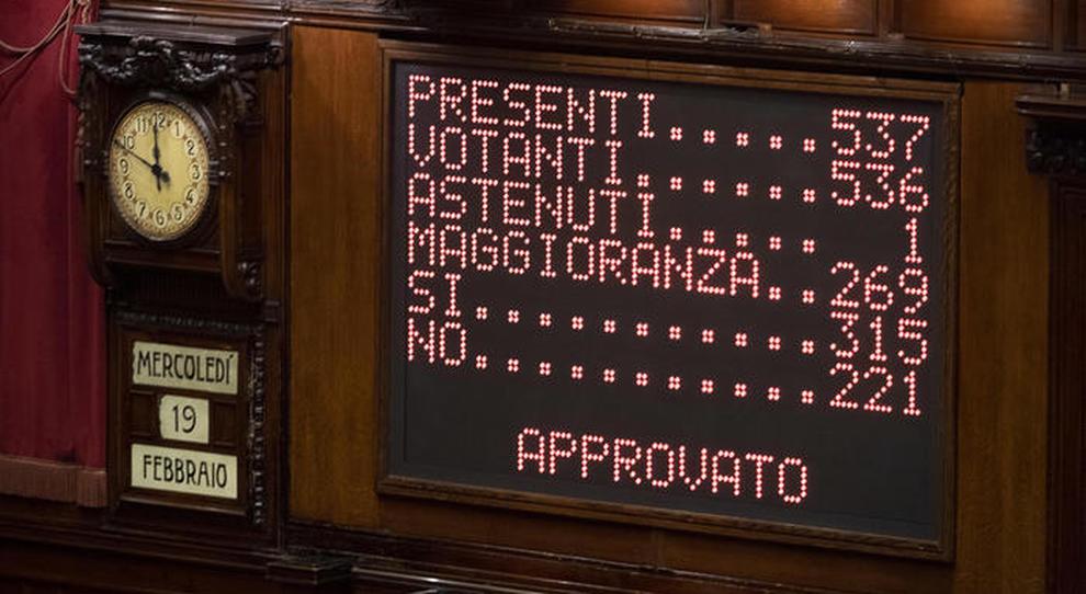 Il tabellone riepilogativo della votazione al Senato sul decreto Milleproroghe