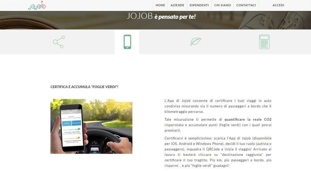 Una schermata del portale di Jojob