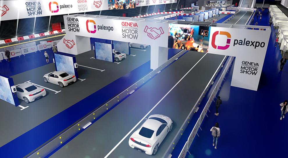 Un rendering della nuova pista al coperto per i modelli ecologici al salone di Ginevra