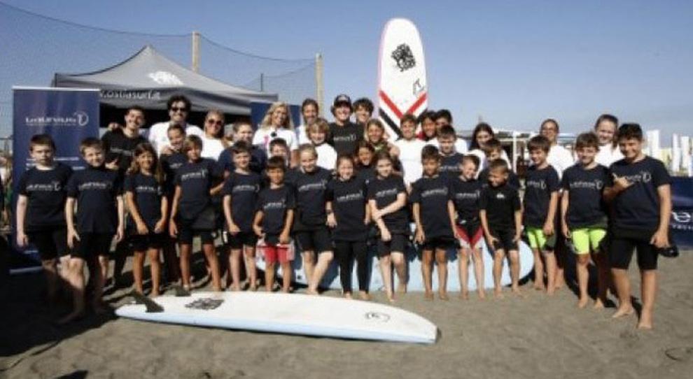 Una foto di gruppo dei partecipanti all'iniziativa della Fondazione Laureus