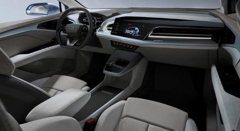 Gli interni in Alcantara dell'Audi Q4 e-tron