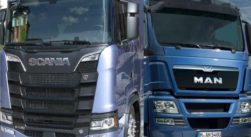 Il muso di due truck Scania e Man