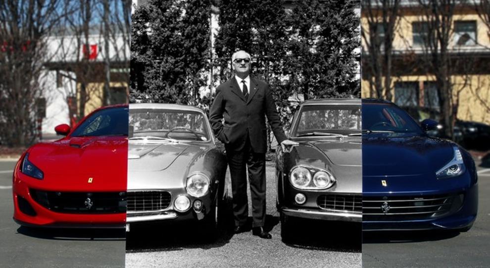 Il cavaliere Enzo Ferrari in mezzo ai suoi gioielli