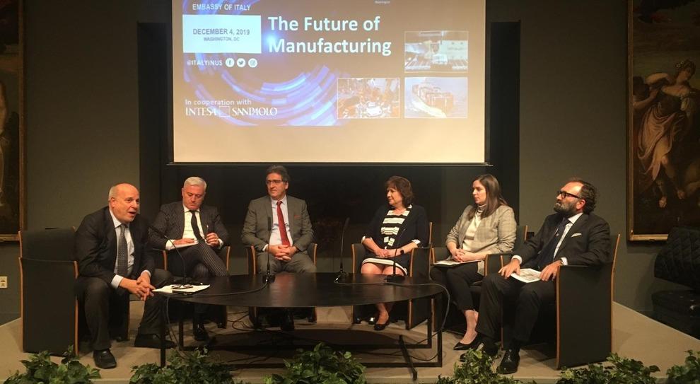 """Un momento della tavola rotonda """"The future of manifacturing"""" all'ambasciata italiana a Washington"""