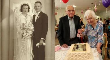 La coppia di ultracentenari festeggia gli 80 anni di matrimonio e anche il Parlamento li omaggia