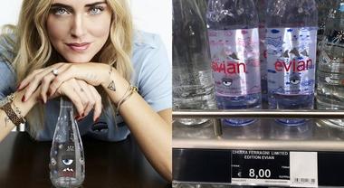 """Chiara Ferragni, in vendita a 8 euro la """"sua"""" bottiglia d'acqua griffata: web in rivolta"""