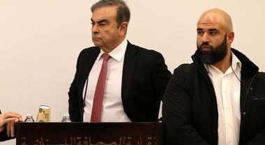 Carlos Ghosn, le immagini della conferenza stampa a Beirut