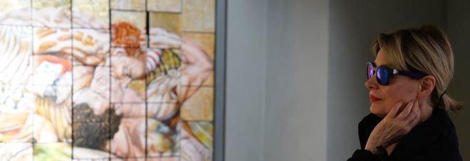 Marta Flavi all'opening della nuova galleria d'arte a via Mario de' Fiori