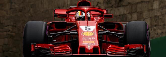 La Ferrari SF71H di Sebastian Vettel sulla pista di Baku