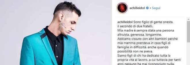 Il post Instagram di Achille Lauro