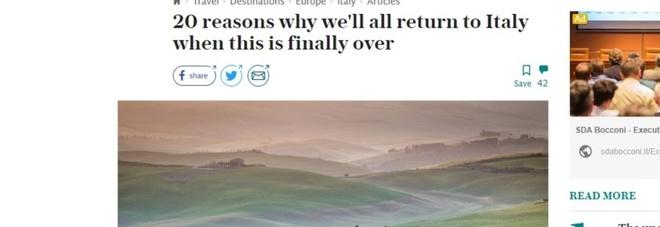 Il Telegraph elogia l'Italia: «Ecco i 20 motivi per tornare da voi quando tutto sarà finito». La classifica delle nostre bellezze
