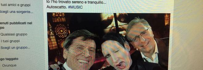 """""""Marilyn Manson è sereno e tranquillo"""", selfie con Morandi dopo le critiche: """"Tenete lontani i bambini"""""""