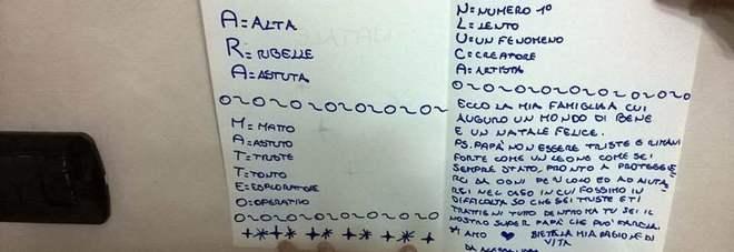 """La lettera di Natale di Alessandra al papà licenziato: """"Non essere triste, ce la farai"""""""