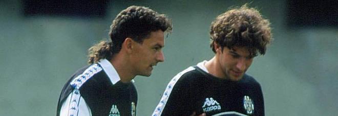 La foto postata da Del Piero (a sin) con Baggio