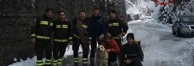 Rayder il golden retriever precipitato  nel burrone e salvato da vigili del fuoco e soccorso alpino