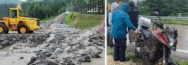 Nubifragio a Cortina e nel Bellunese: due frane investono 6 motociclisti e un ciclista