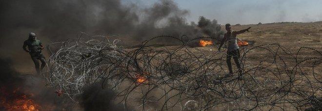 Un momento degli scontri a Gaza