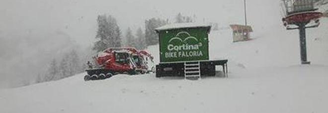 Sul Faloria a Cortina d'Ampezzo nevica (foto Radio Cortina)