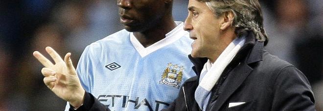 Mancini con Balotelli ai tempi del Manchester City