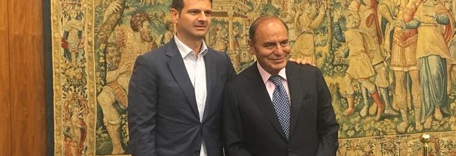 Bruno Vespa e il direttore di RaiUno Andrea Fabiano