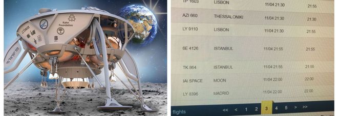 """Da Tel Aviv alla Luna: all'aeroporto Ben Gurion sul tabellone degli """"arrivi"""" lo sbarco della sonda Beresheet"""