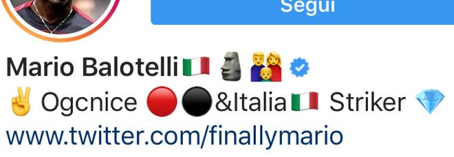 Balotelli pensa già alla Nazionale, su Instagram è «attaccante dell'Italia» Foto