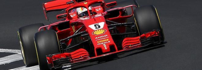 La Ferrari SF71H di Sebastian Vettel a Silverstone