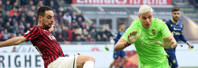 Milan-Verona 1-1, il pari senza Ibra frena la rincorsa rossonera