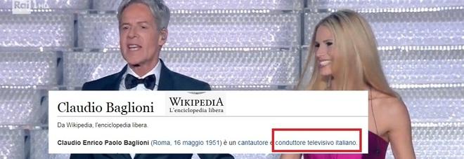 Sanremo Cambiata la pagina Wikipedia di Baglioni, ora è anche conduttore